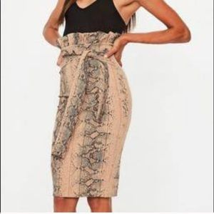 NWT Missguided snake print high waisted tie skirt